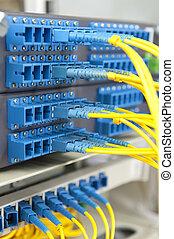 fiber, nätverk, lappa, koppla, optisk, kablar, panel
