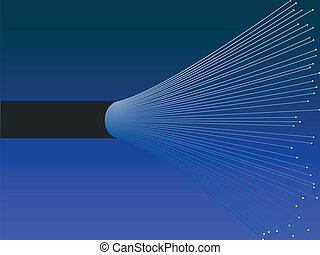 Fiber optic cable - Illustration of an open fiber optic...