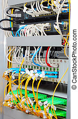 fiber optic datacenter with media converters and optical...