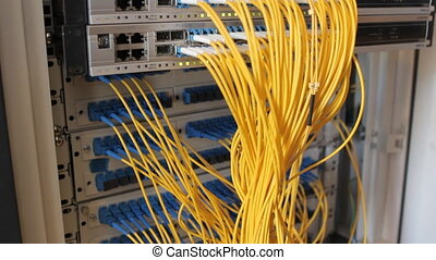 Fiber-optic equipment in a data center - Media Converters....