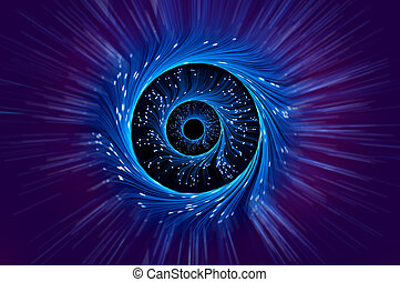 Fiber optical illusion - Blue and violet abstract of rings...