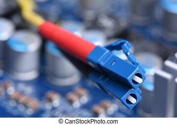 Fiber Optical Network Cables Close-up