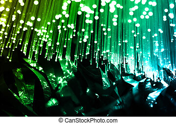 Fiber optics background with lots of light spots
