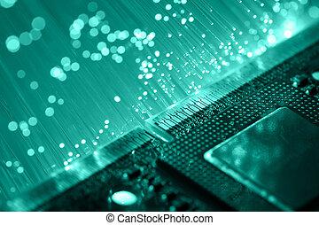 Fiber optics background with lots of light spots