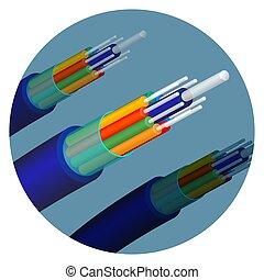 Fiber optics cable technology set in circle vector illustration