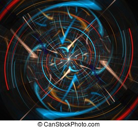 Fiber Spin Abstract - Spinning colorful fibers in futuristic...