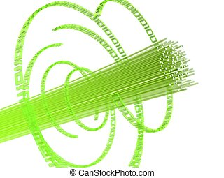 fiber wire - 3d rendered illustration of green fiber optic...