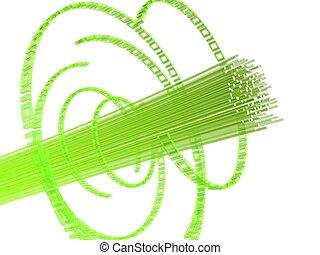 fiber wire - 3d rendered illustration of green fiber optic...