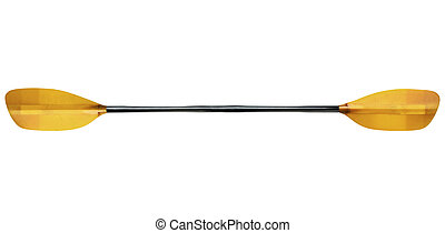 fiberglass whitewater kayak paddle with an oval shaft, isolated on white