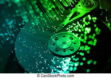 fibra, óptico, computadora, harddisk
