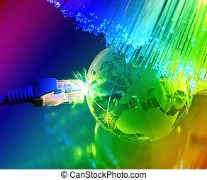 fibra ótico, globo, contra, fundo, terra, tecnologia