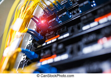 fibra, centro, óptico, tecnología, servidores, datos