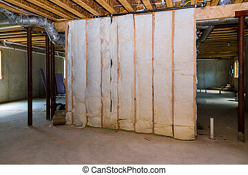 fibra de vidrio, frío, sótano, aislamiento, barrera, material