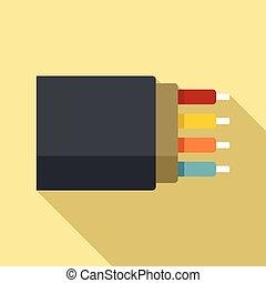fibra, icono, estilo, plano, óptico, ancho de banda