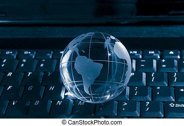fibra, ottico, globo, contro, fondo, Terra, tecnologia