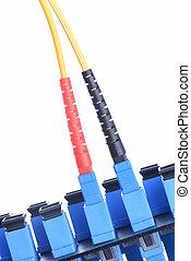 fibra, ottico, rete, cavo, con, ottico, distribuzione, cornice