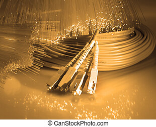fibra, ottico, rete, cavo