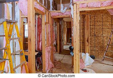 fibra, thermally, marco, calor, aislar, madera, casa, placas, construcción, aislar
