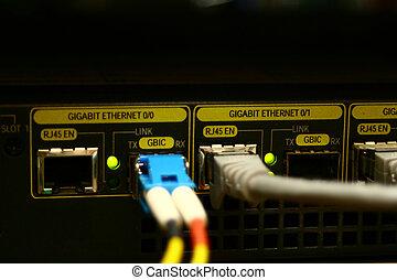 fibre, connexion, courant, gigabit, ethernet, vitesse