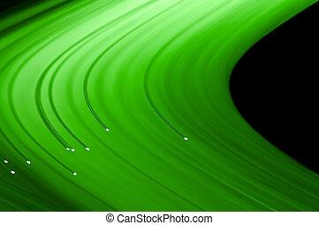 fibre, fins, éclairé, optique, lumière, résumé, haut, arrière-plan., vert, fin, plusieurs, brins, style., capturer, noir