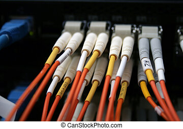 Fibre optic cables connected to a switch