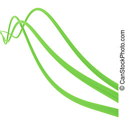 fibre-optical green cables on a white background