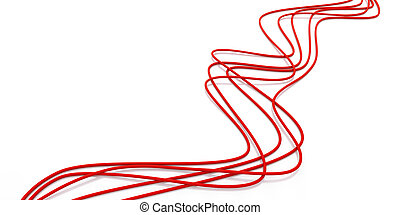 fibre-optical red cables on a white background