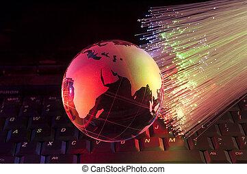 fibre optique, globe, contre, fond, la terre, technologie