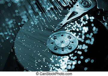 fibre, optique, informatique, harddisk