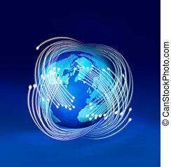 fibre ottiche, intorno, terra pianeta