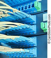 fibre, réseau, pièce, commutateur, optique, câbles, panneau
