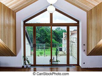 fibre verre, nouveau, terrasse, portes, glissement