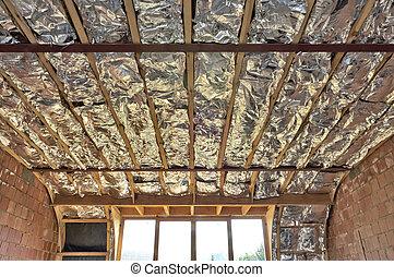 fibre verre, toit, batt, entre, isolation, bottes