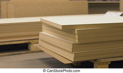 fibreboards storing at furniture factory - production,...