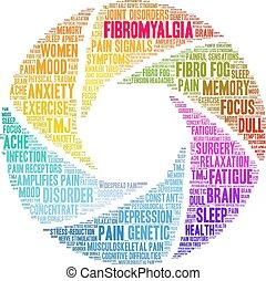 fibromyalgia, felhő, szó