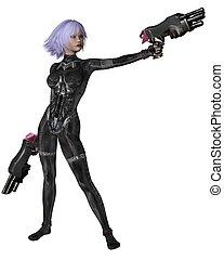 ficção científica, catsuit, menina, tiros