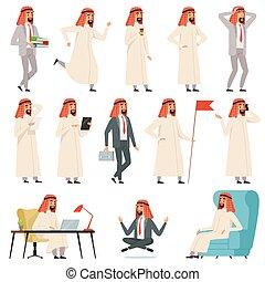 ficar, árabe, negócio, trabalhador, muçulmano, algum, cenas, negócios, vetorial, vário, itens, businessman., árabe, personagem, sorrindo, fazer