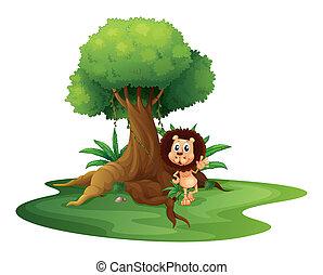ficar, árvore, leão, ao lado, antigas
