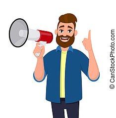 ficar, índice, conceito, anunciar, apontar cima, isolado, ilustração, caricatura, finger., experiência., shouting, vetorial, algo, segurando, megaphone/loudspeaker, branca, megafone, style., homem