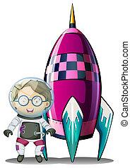 ficar, ao lado, astronauta, nave espacial, vidro