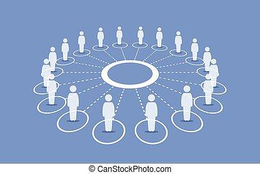 ficar, ao redor, pessoas, conectando, cada, círculo, others.