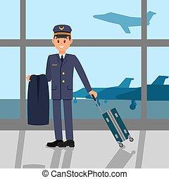 ficar, apartamento, aeroporto, trabalhando, grande, piloto, jovem, airfield., casaco, janela, vetorial, desenho, segurando, suitcase., capitão, uniform., vista