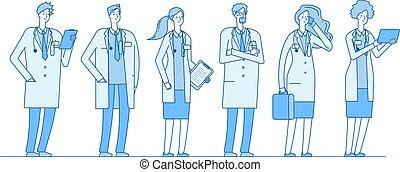 ficar, apartamento, conceito, grupo, linear, pessoas, trabalhadores, doutor, doutores, vetorial, group., enfermeira, cuidados de saúde, medicina, cirurgião, farmacêutico, hospitalar