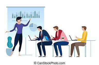 ficar, apartamento, estilo, vetorial, financeiro, illustration., negócio, explicando, frente, dados, resultados, screen., board., gerente, projetar, diretores, relatório, quarto, apresentação, incorporado