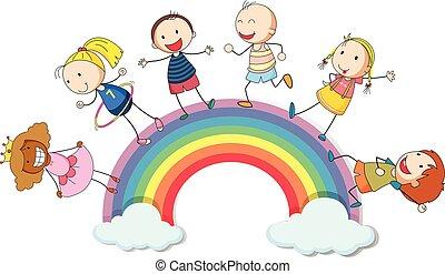 ficar, arco íris, crianças