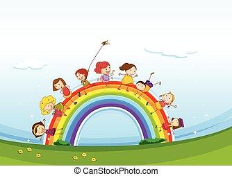 ficar, arco íris, sobre, crianças