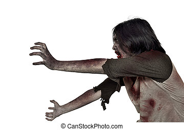 ficar, arrepiado, zombie, mãos sujas, homem, vista lateral