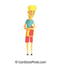 ficar, backpack., seu, coloridos, personagem, jovem, loura, caricatura, homem