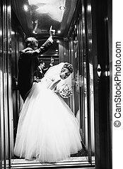 ficar, baixos, noivo, elevador, noiva, antes de