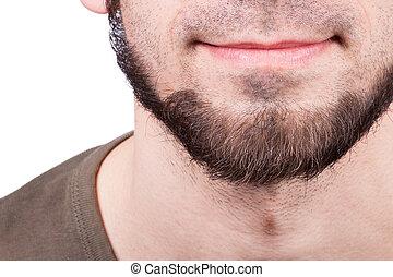 ficar, barbudo, close-up, contra, jovem, fundo, branca, homem